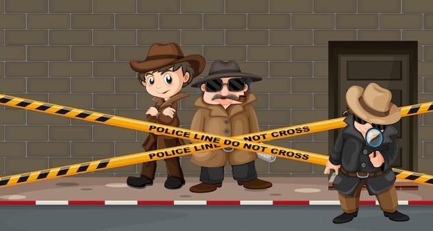 Detectives buscando pistas en la escena del crimen.
