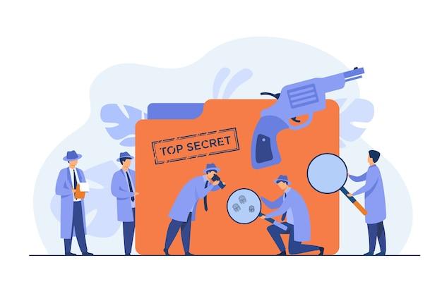Detectives de la policía que buscan evidencias con la ilustración de vector plano de lupa. espías de dibujos animados o agentes con sombreros, armas y expediente encubierto. concepto de misterio e investigación