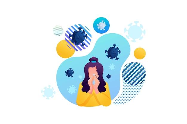 Detén el virus. la niña sufre de secreción nasal, resfriado, gripe. las bacterias vuelan alrededor. personaje plano 2d. concepto de diseño web.