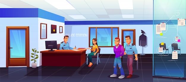 Detención de delincuentes en la estación de policía, policía