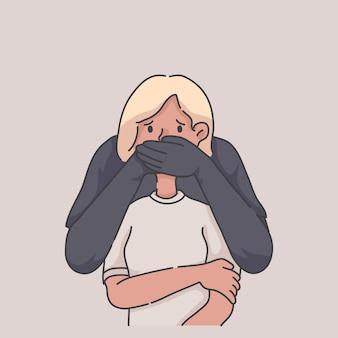 Detener el abuso concepto de ilustración abusiva