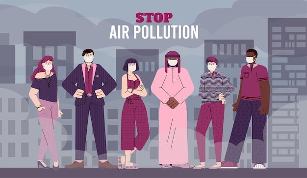 Detener la bandera de la contaminación del aire con personas de dibujos animados con máscaras faciales