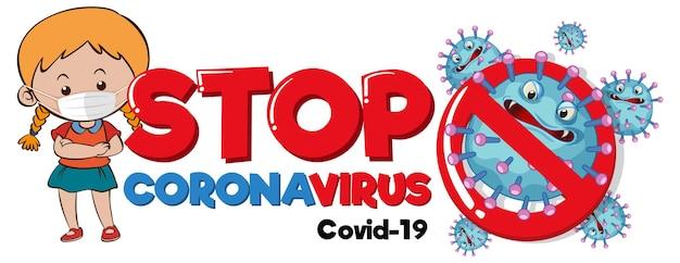 Detener el banner de coronavirus con una niña con un personaje de máscara médica sobre fondo blanco
