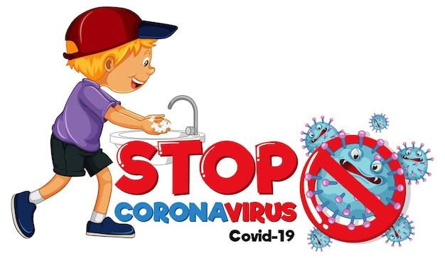 Detener el banner de coronavirus con un niño lavándose las manos sobre fondo blanco.
