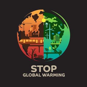 Detener el calentamiento global concepto de diseño.