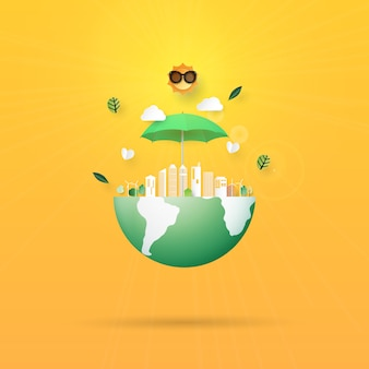 Detener el calentamiento global, save the earth concept paper art style