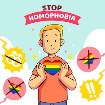 Detener el concepto de ilustración de homofobia