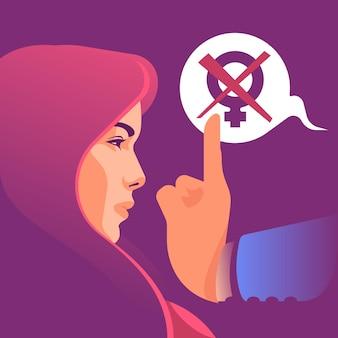 Detener el concepto de ilustración de violencia de género