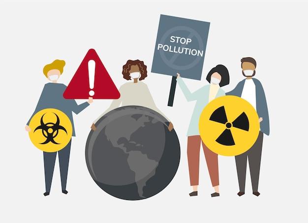 Detener la contaminación y la ilustración del cambio climático.