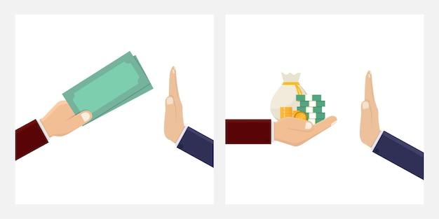Detener la corrupción, la gente de negocios rechaza la corrupción dinero ilustración