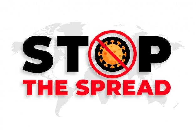 Detener el diseño de fondo de mensaje de propagación de coronavirus