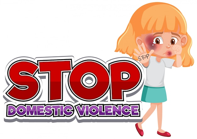 Detener el diseño de fuente de violencia doméstica con niña triste