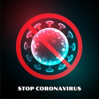 Detener el diseño de símbolo de infección por virus coronavirus covid-19