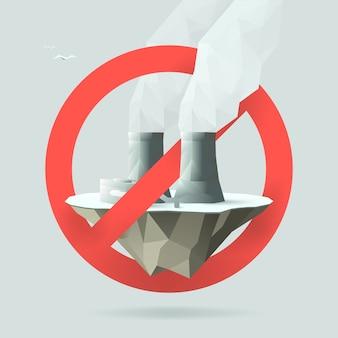 Detener el icono de plantas de energía nuclear