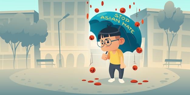 Detener el llamado de odio asiático para apoyar a la comunidad de asia durante la pandemia de covid