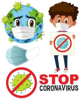 Detener el logotipo del coronavirus con el personaje de dibujos animados de la máscara con la tierra y el niño con el cartel de detener el coronavirus