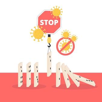 Detener las piezas de domino del concepto de coronavirus