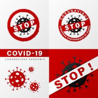 Detener la plantilla de concepto de coronavirus para las redes sociales.