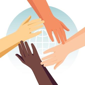 Detener el racismo con diferentes manos.