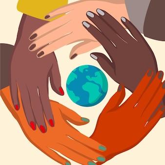 Detener el racismo con las manos y el planeta.