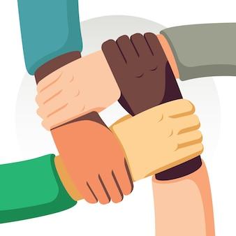 Detener el racismo con las manos.