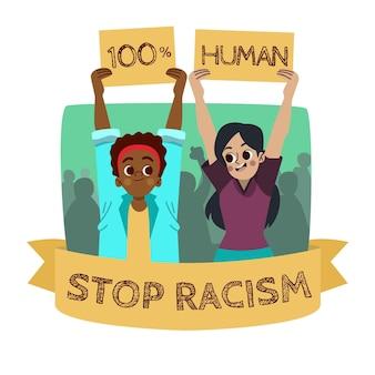 Detener el racismo con personas sosteniendo pancartas
