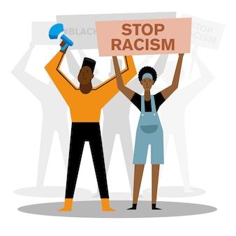 Detener el racismo, las vidas negras importan el diseño de la mujer y el hombre del megáfono de la bandera del tema protesta.
