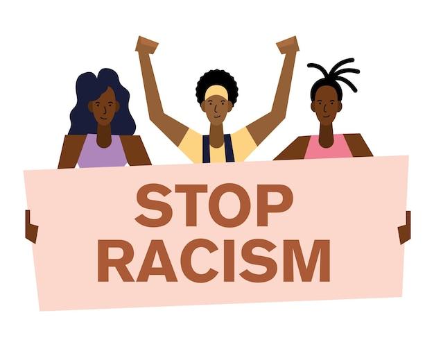 Detener el racismo, las vidas negras importan la pancarta y el diseño de las mujeres del tema de la protesta.