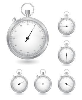 Detener el reloj temporizador conjunto de iconos aislado en blanco