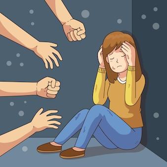 Detener el tema de ilustración de violencia de género