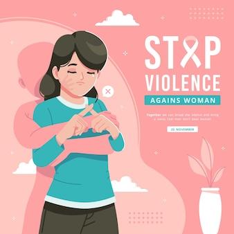 Detener la violencia contra las mujeres ilustración