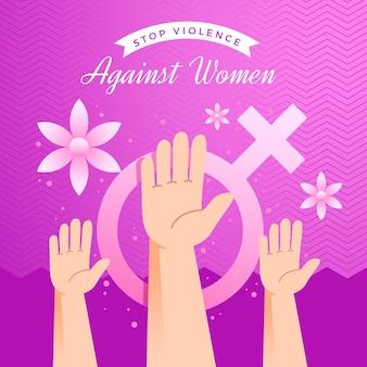 Detener la violencia contra las mujeres con las manos en el aire