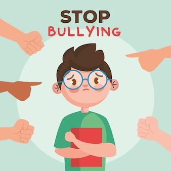Detenga el acoso y las manos apuntando al niño triste con el libro, el matón víctima de la violencia y la ilustración del tema social