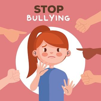 Detenga el acoso y las manos apuntando a la niña triste, la víctima de la violencia y la ilustración del tema social