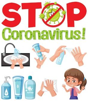 Detenga el logotipo del coronavirus con la mano usando productos desinfectantes