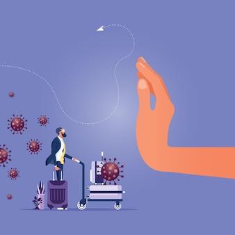 Detenga los viajes a lugares de riesgo prevención del coronavirus covid