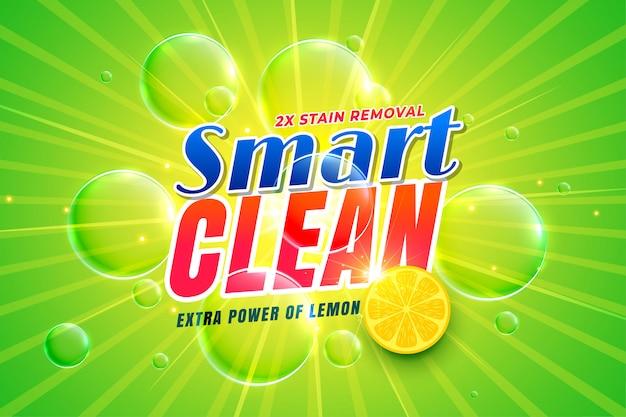 Detergente para lavavajillas con plantilla de envasado de limón.