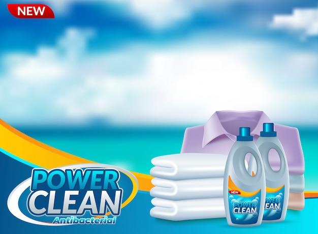 Detergente en polvo detergente publicitario