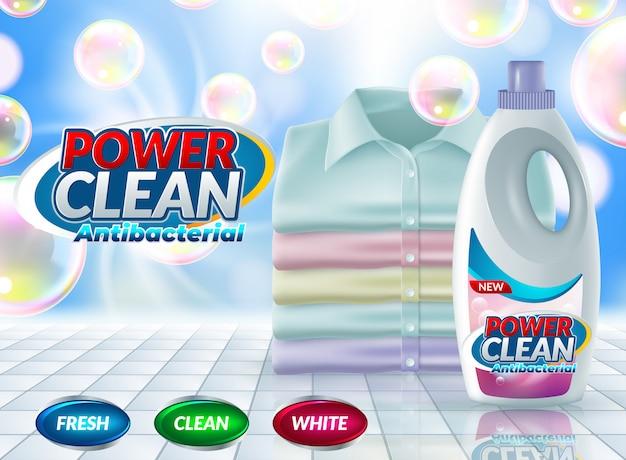 Detergente en polvo publicitario con cartel publicitario.