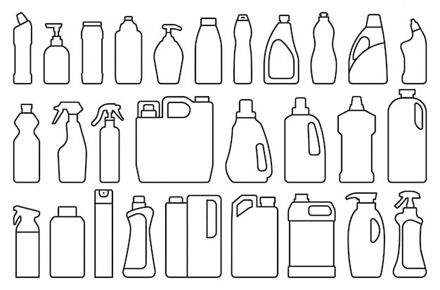 Detergente del producto en el icono de conjunto de estilo de línea.