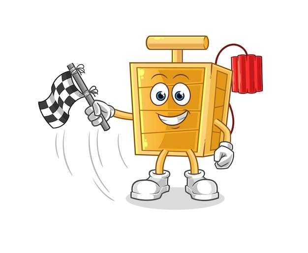 El detonador de dinamita sostiene la bandera de meta. mascota de dibujos animados