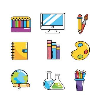 Detrás de la escuela los utensilios creativos.
