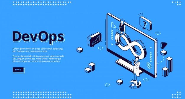 Devops isométrica, desarrollo y operación.