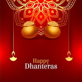 Dhanteras felices rojas brillantes decorativas