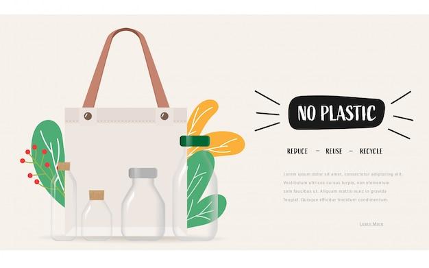 Di no a las bolsas de plástico y lleva una bolsa de tela. la reutilización reduce el concepto de reciclaje para salvar la tierra.