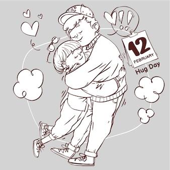 Día de abrazo arte lineal super lindo amor alegre romántico san valentín pareja citas regalo dibujado a mano ilustración de contorno