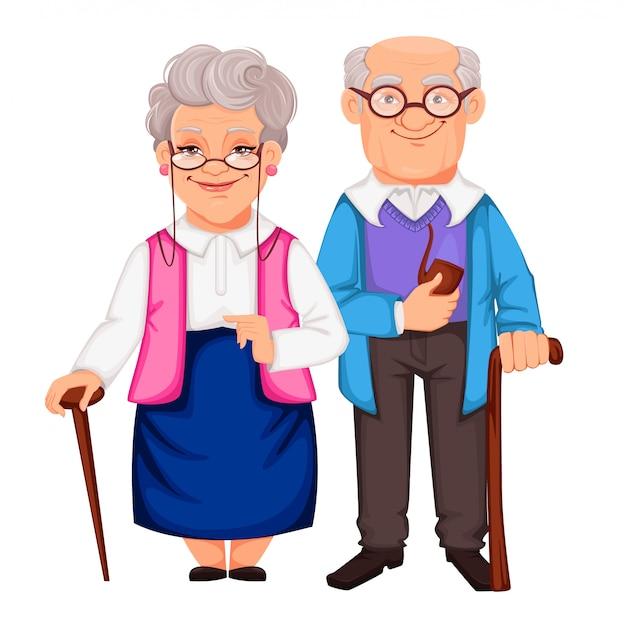 Día de los abuelos. abuelo y abuela