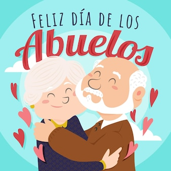 Dia de los abuelos ilustración con abuelos.