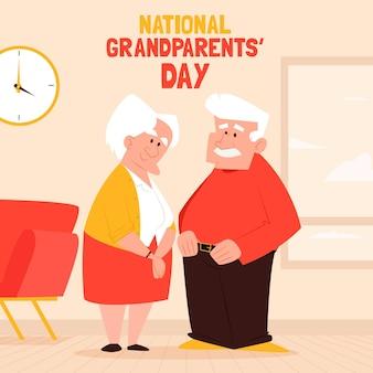 Día de abuelos nacionales de fondo de diseño plano