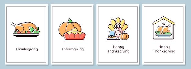 Día de acción de gracias celebrando tarjetas de felicitación con conjunto de elementos de icono de color. fiesta de la cosecha. diseño vectorial de postal. folleto decorativo con ilustración creativa. notecard con mensaje de felicitación.